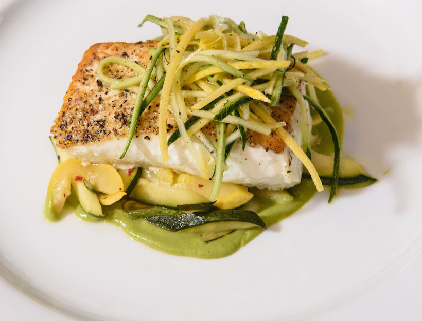 Olive Oil-Poached Halibut with Squash Ragu