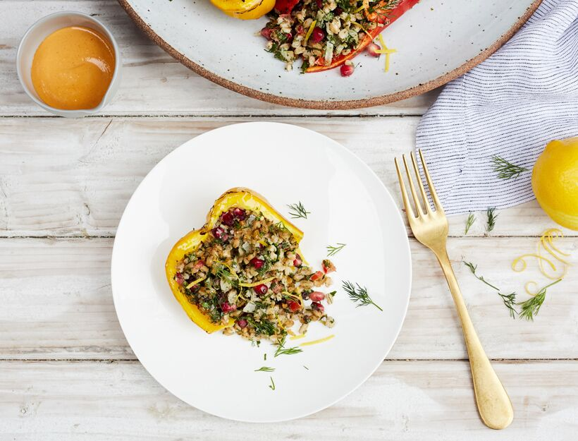 Buckwheat Stuffed Peppers with Tahini Dressing