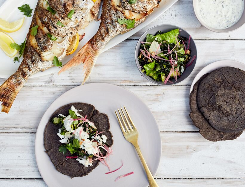 Whole BBQ Pulled Fish with Buckwheat Wraps, Tabasco Kale Salad, and Yogurt Tartar Sauce