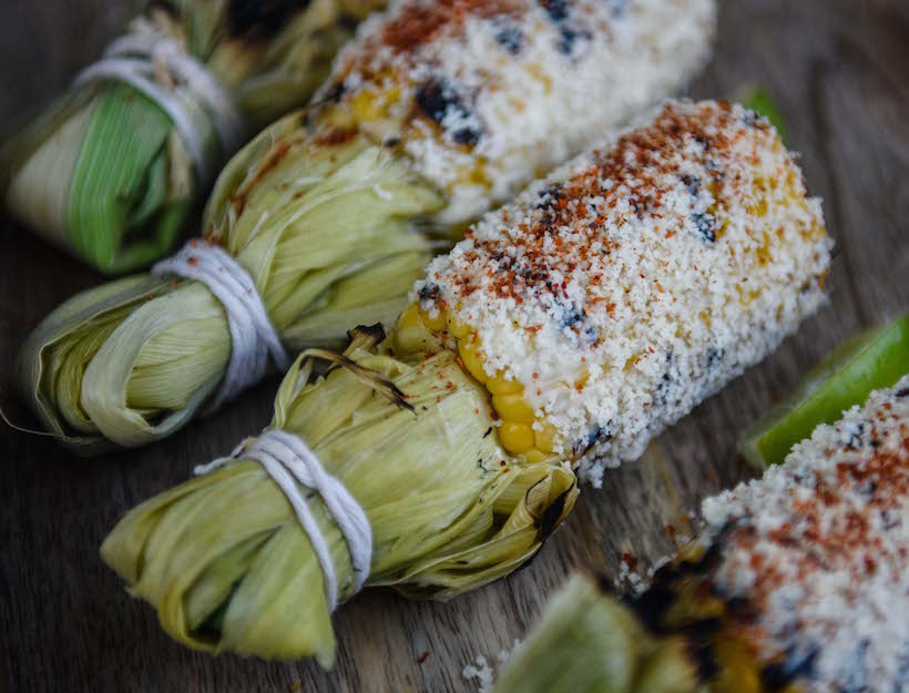 Elote Corn with Husk Handle