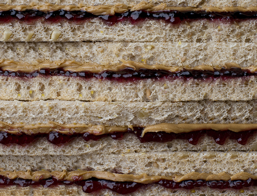 Close-up of peanut butter and jelly sandwiches