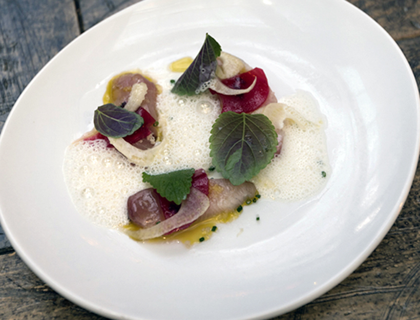 Marinated Yellowtail with Plums, Fennel and Pistachio