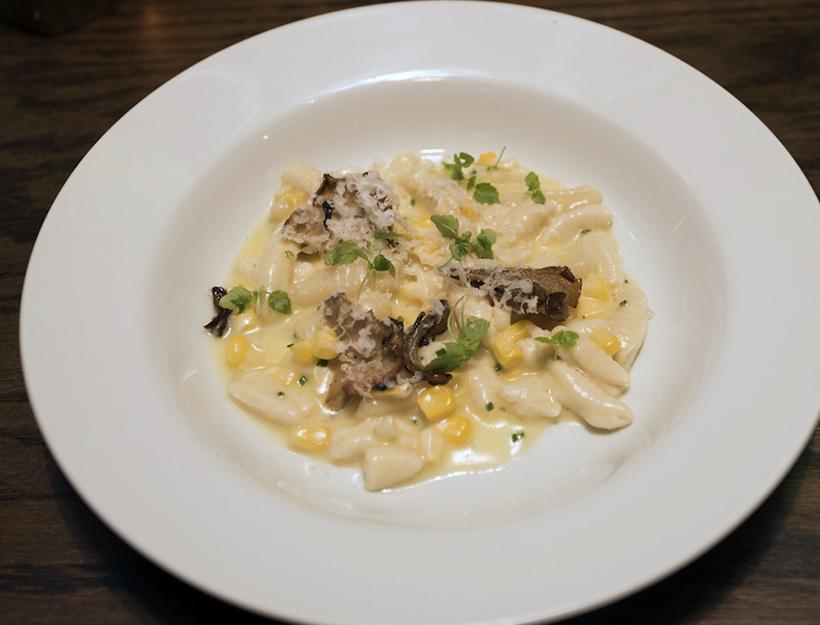 Corn and Mushroom Cavatelli with Goat Gouda Cheese