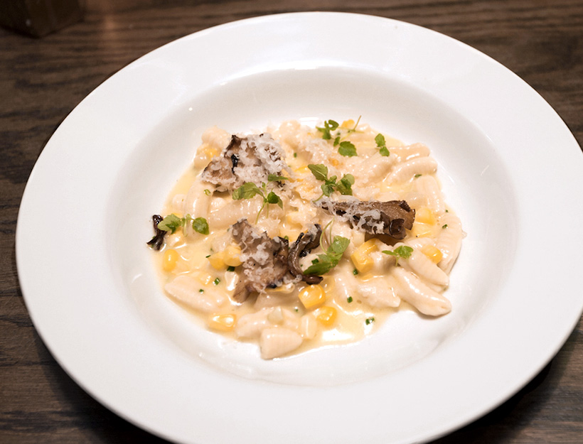 Corn and Mushroom Cavatelli with Goat Gouda Cheese