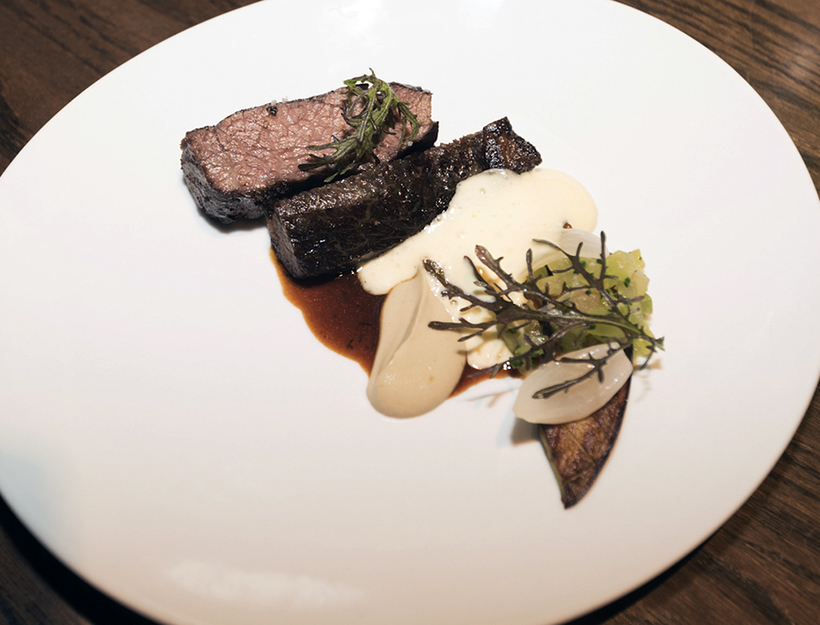 Roasted Shortribs with Eggplant and Bone Marrow Sabayon