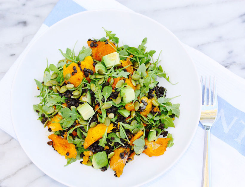 Braised Lentil Salad with Roasted Kabocha