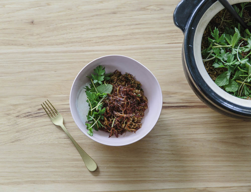 Donabe Rice with Lentils, Cumin, and Caramelized Onions