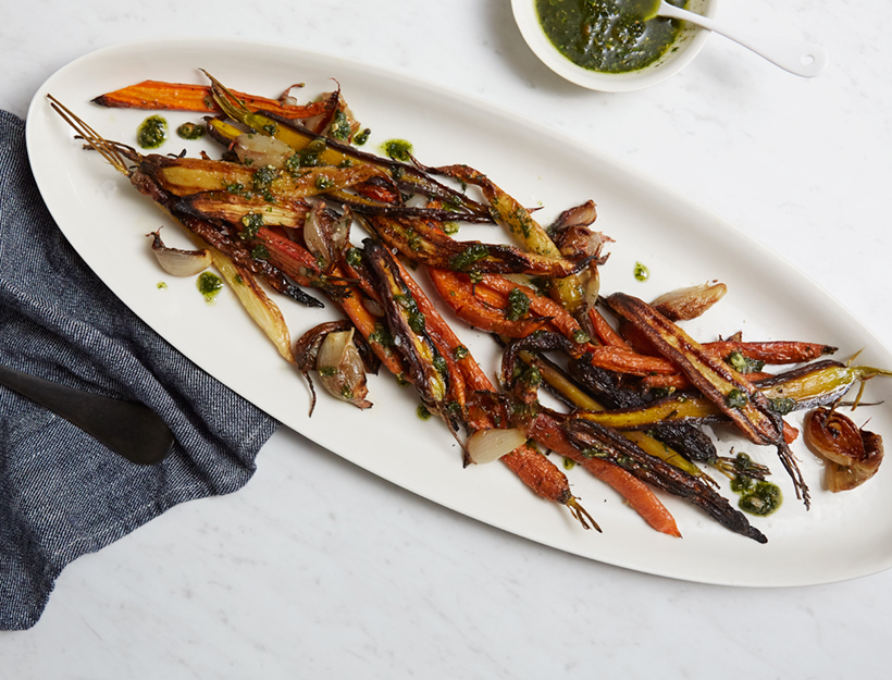 Caramelized Carrots & Shallots with Carrot Top Pesto