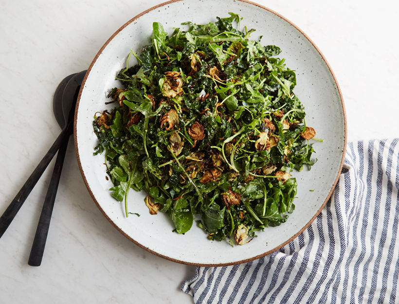 Kale & Arugula Salad with Crispy Brussels Sprouts