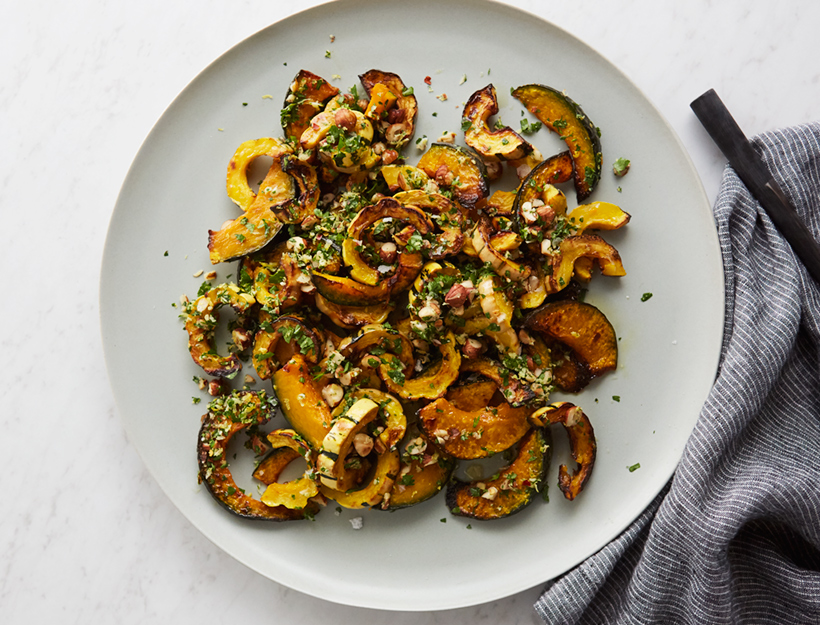 Roasted Squash with Brown Butter & Hazelnut Gremolata