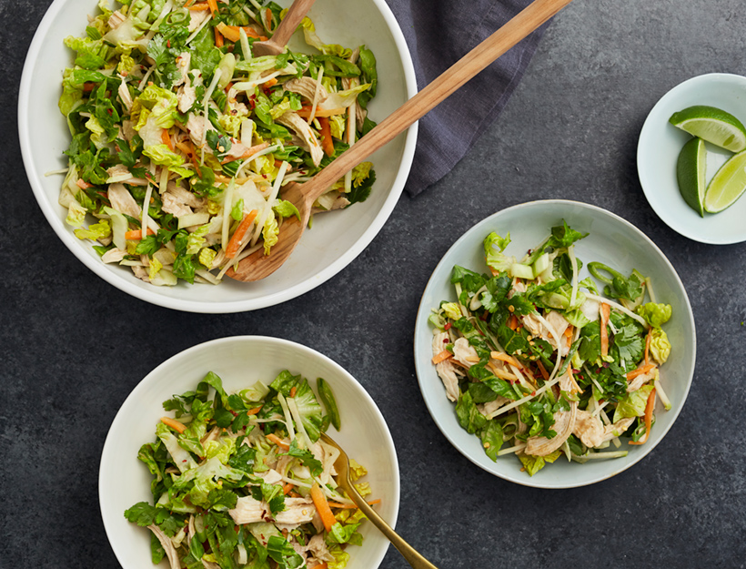 Crunchy Veggie Salad with Poached Chicken and Garlicky Sunbutter Dressing