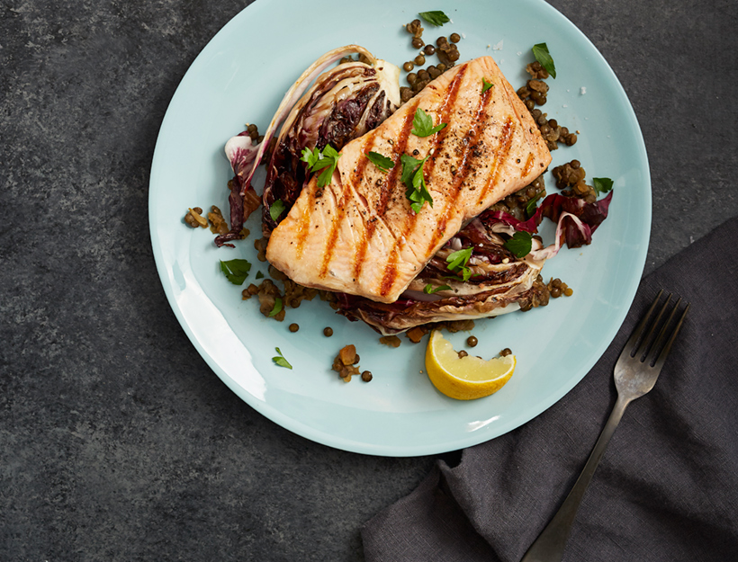 Lentils with Salmon and Grilled Radicchio