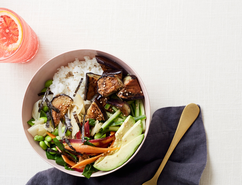 Sushi Bowl with Miso Glazed Eggplant