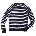 Striped Raglan V-Insert Sweatshirt