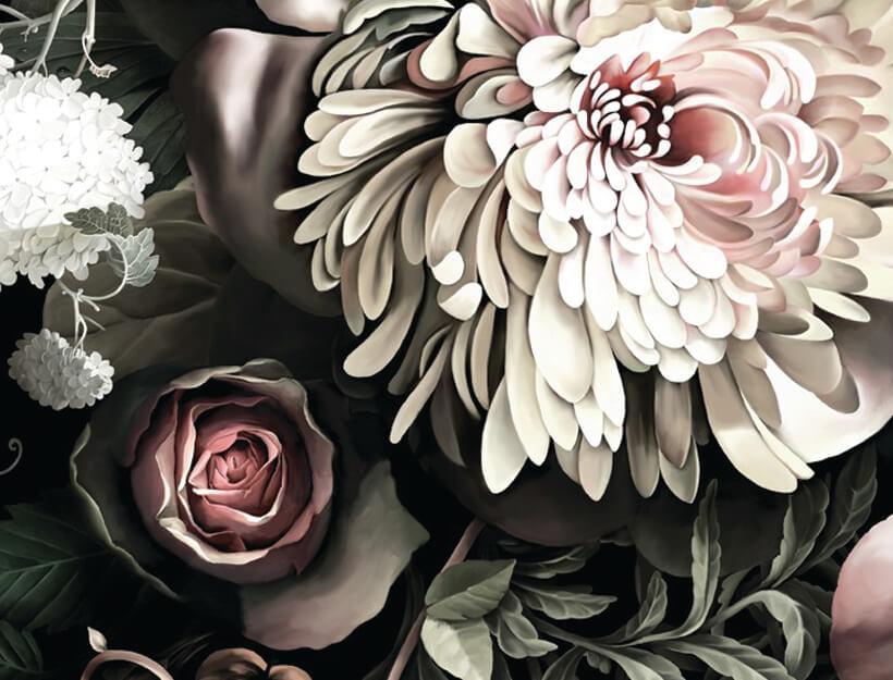 Dark Floral II Saturated Wallpaper by Ellie Cashman
