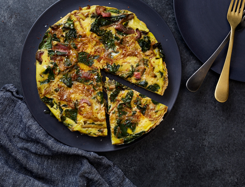 Frittata with Caramelized Onion and Greens Recipe | Goop