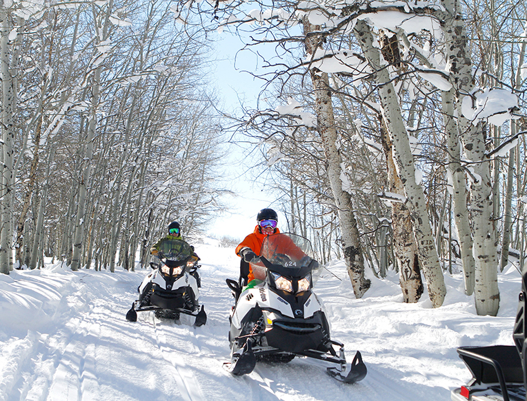 Snowmobiling at the Deer Valley Resort