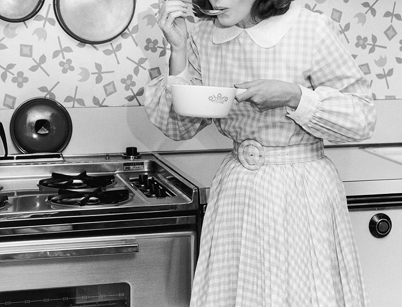 Mandatory Credit: Photo by Ewing Galloway/UIG/REX/Shutterstock (3799259a) MODEL RELEASED, Homemaker tasting food from cooking pot VARIOUS