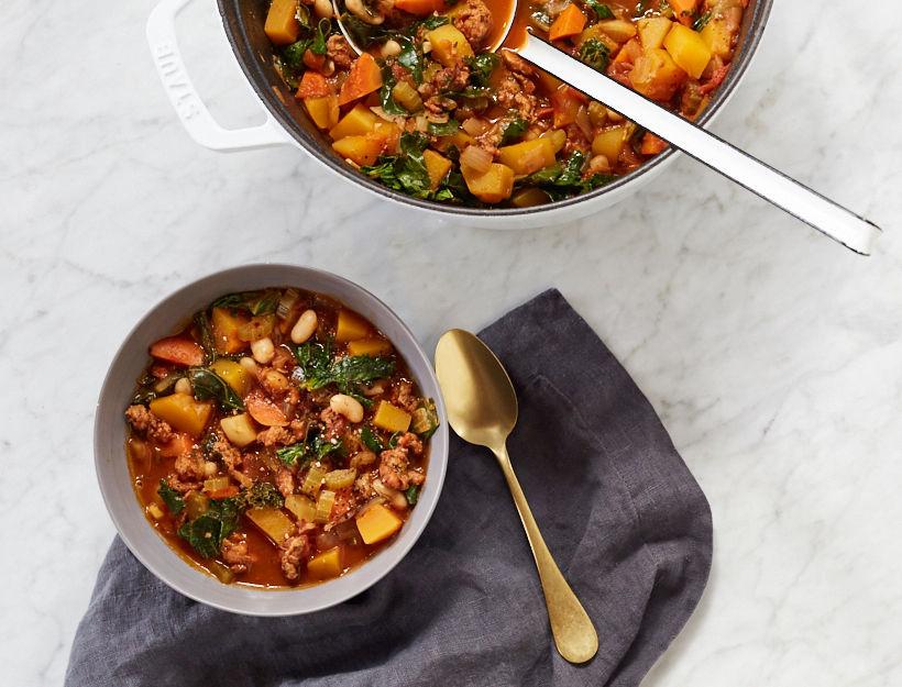 Chicken Sausage & Bean Stew with Winter Veggies