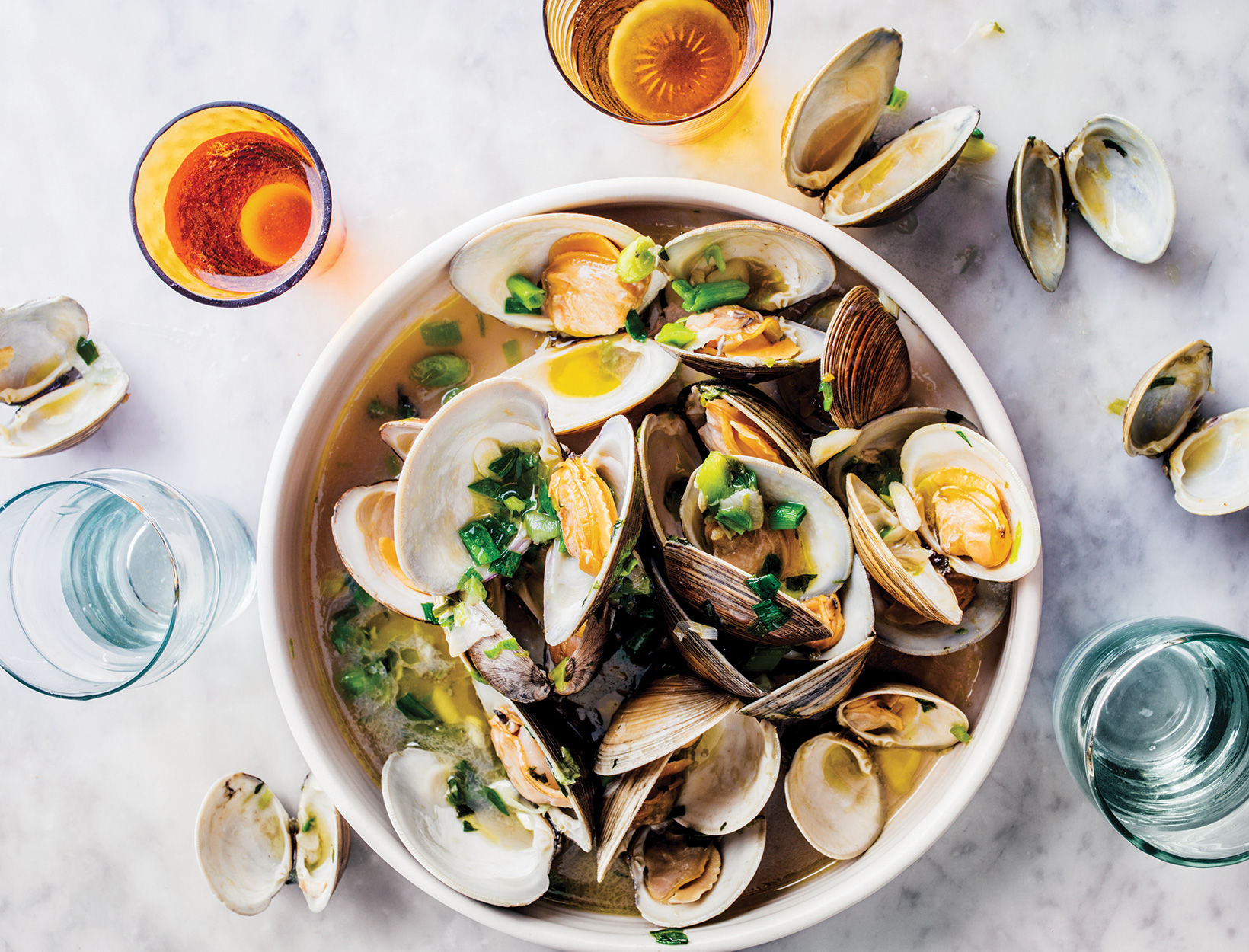 Steamed Clams with Spring Herbs and Lime