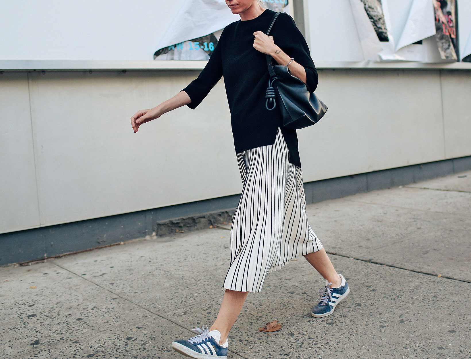 Fashion Uniform: Long Skirt + Sweater + Sneakers