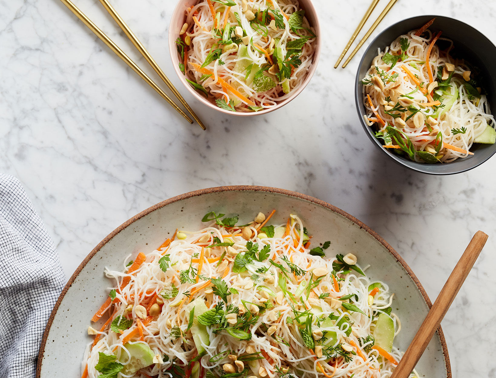 Rice Vermicelli Bowl with Lime Peanut Dressing