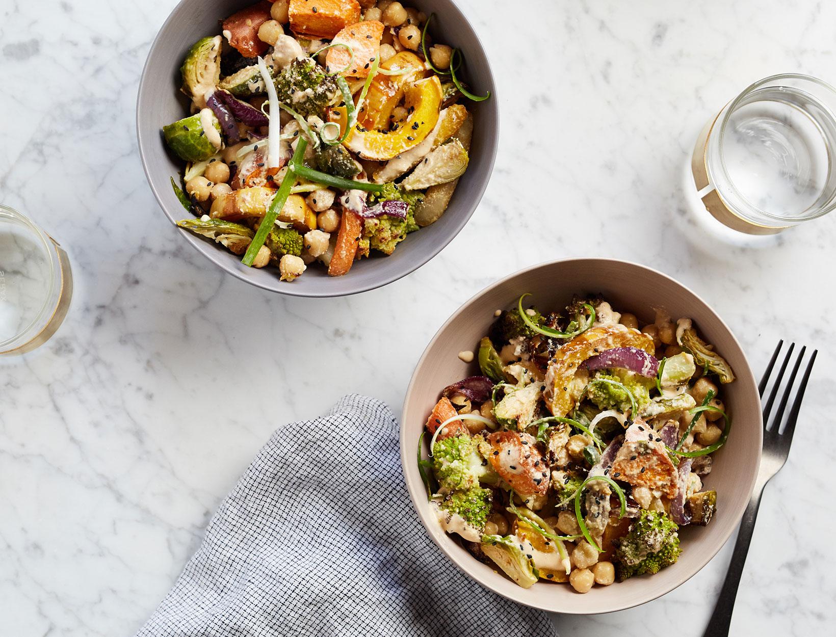 Tossed Peanut-y Roasted Vegetable Bowls