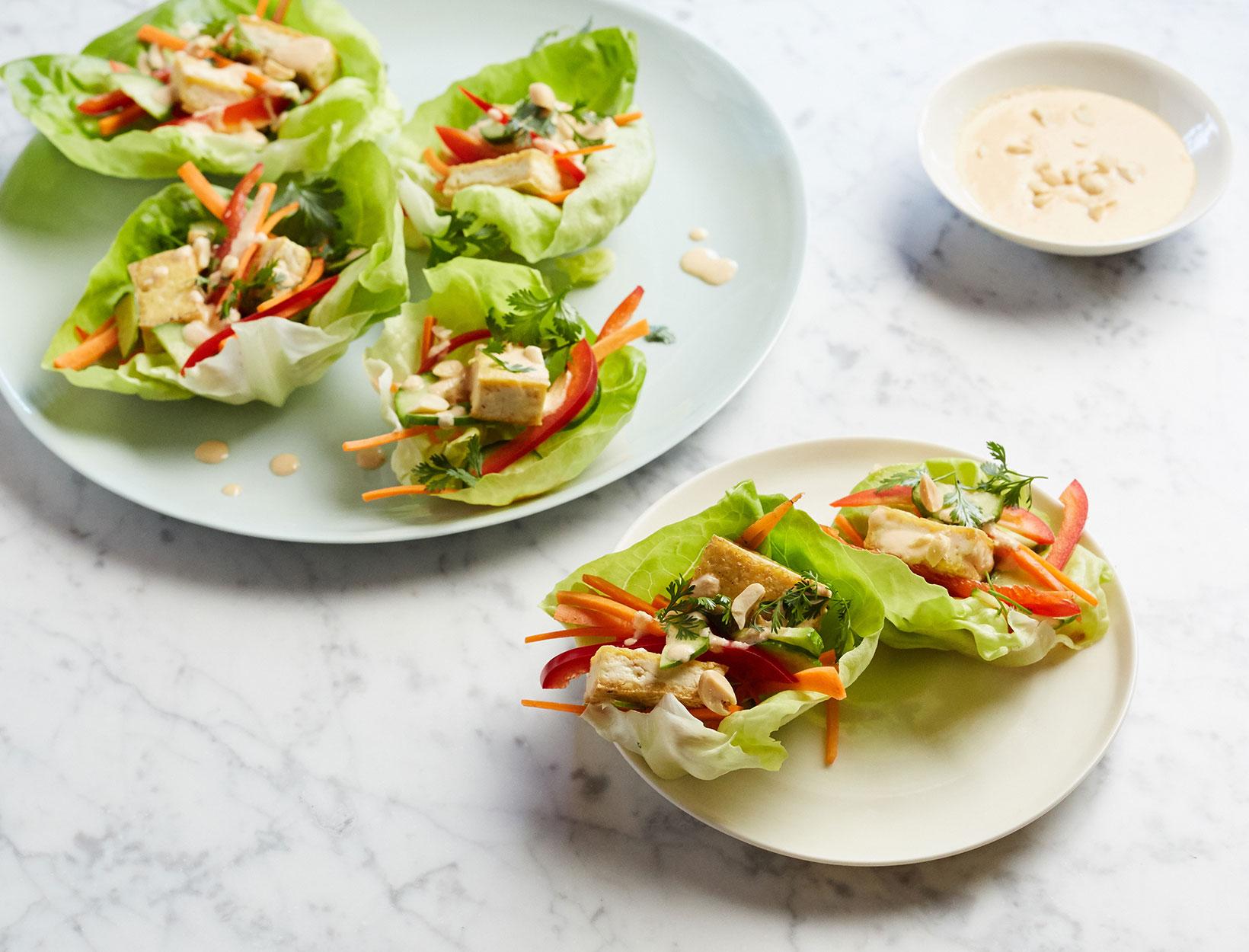 Pressed Tofu Lettuce Wraps