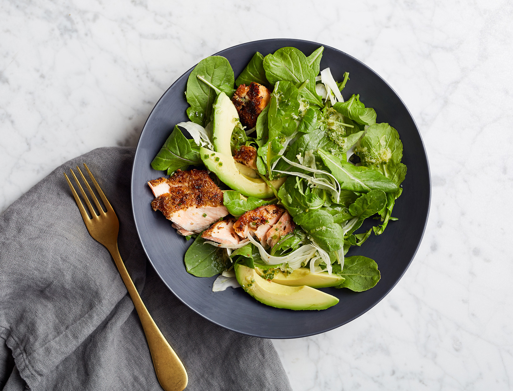 Arugula Salad with Fennel Crusted Salmon and Avocado