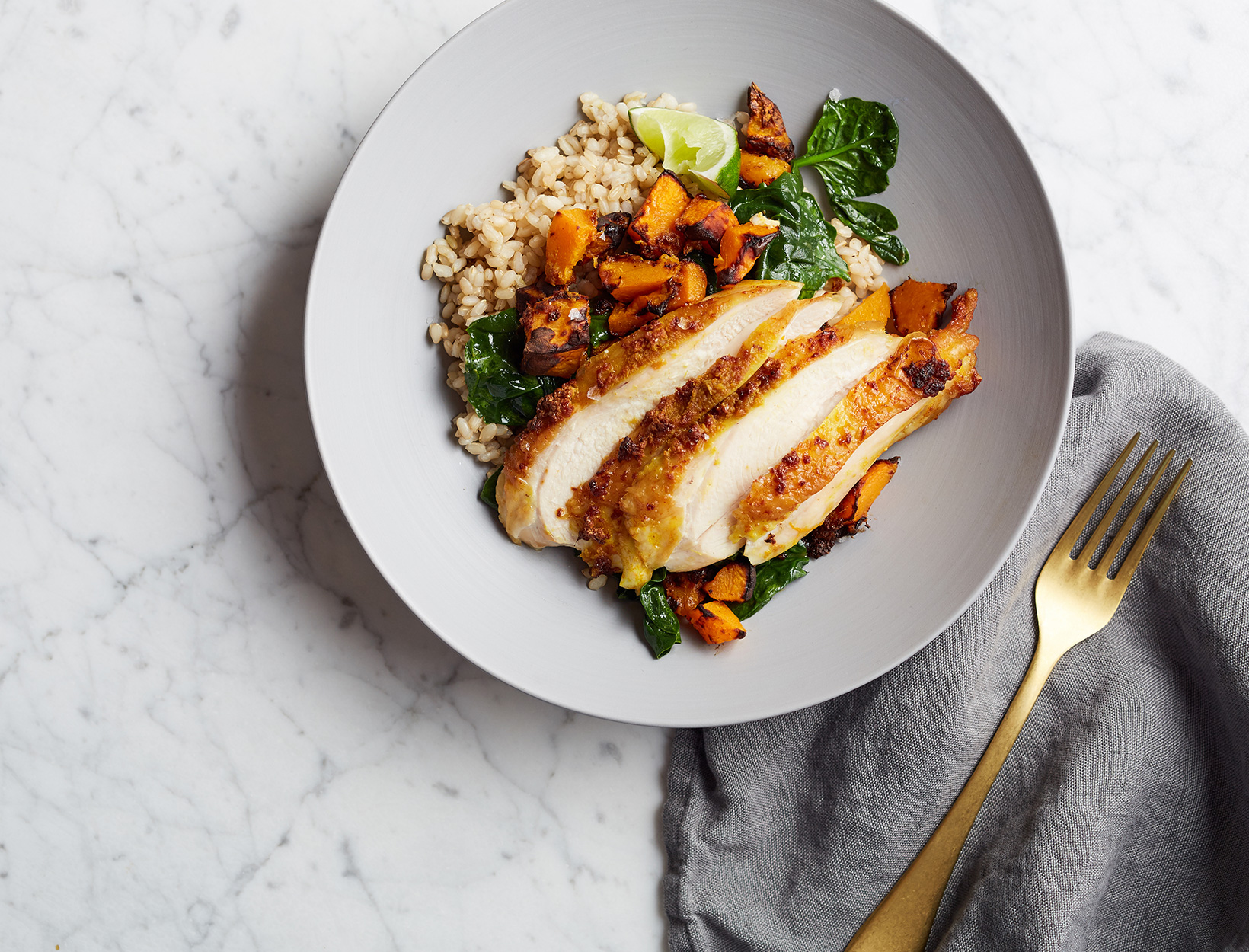 Ginger Turmeric Chicken and Squash Bowl