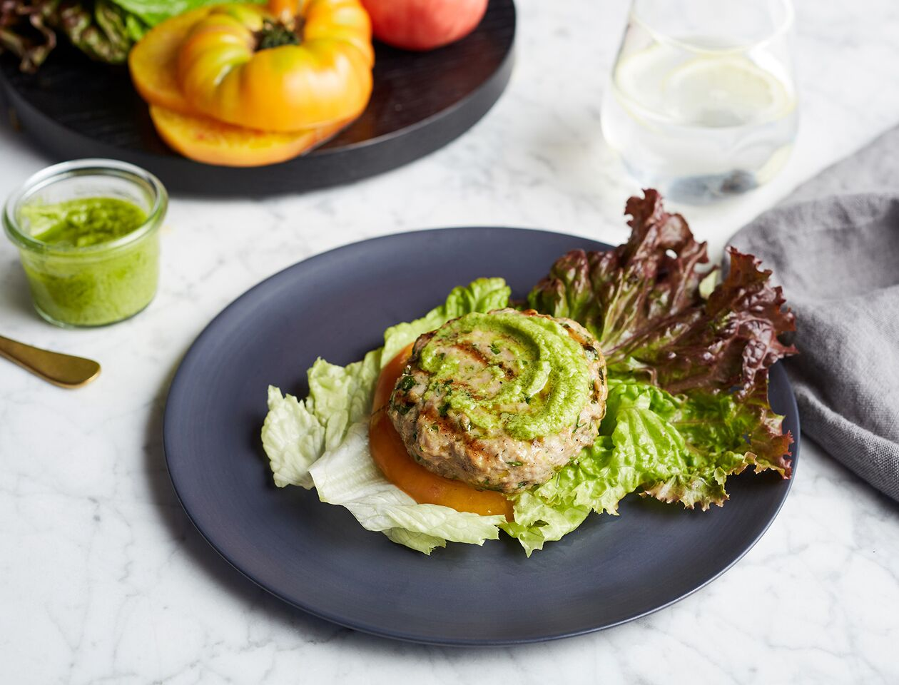 Lettuce Wrapped Turkey Burger with Basil Guac
