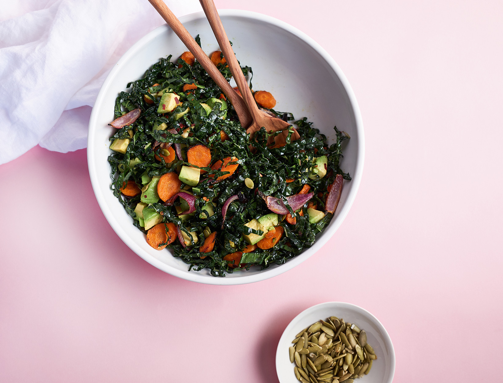 Kale and Avocado Salad with Roasted Carrots