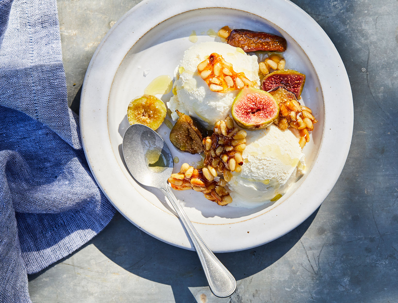 Roasted Figs with Candied Pine Nuts and Vanilla Ice Cream