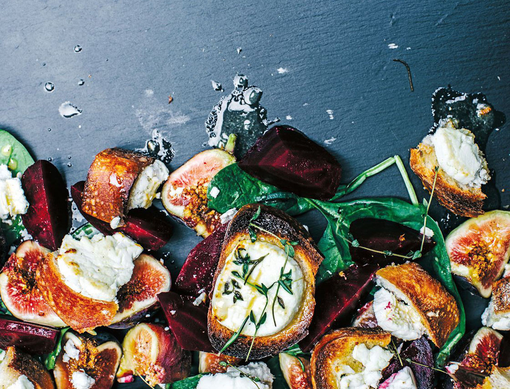 Warm  Goat's Cheese Croutons with Roasted Beets, Figs, and Apple-Mustard Dressing
