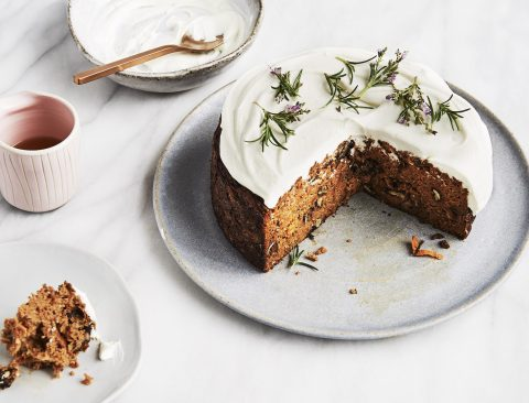 Carrot and Rosemary Cake with Labneh Frosting and Cacao Butter Frosting