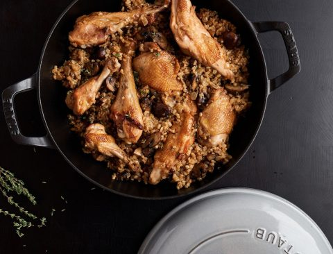 Chicken with Brown Rice, Mushrooms, and Thyme