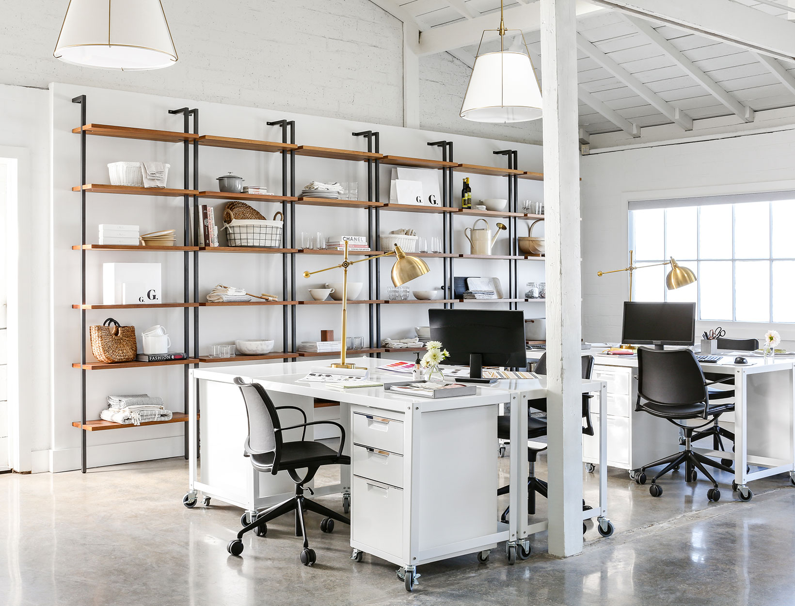 home office furniture dallas adams office. Go-Cart White Rolling Desks, TPS 3-drawer Filing Cabinet, And Helix 96\u2033 Acacia Bookcases, CB2; Adams 30\u2033 Desk Lamp, Allmodern; Gas Task Armchairs, Home Office Furniture Dallas N