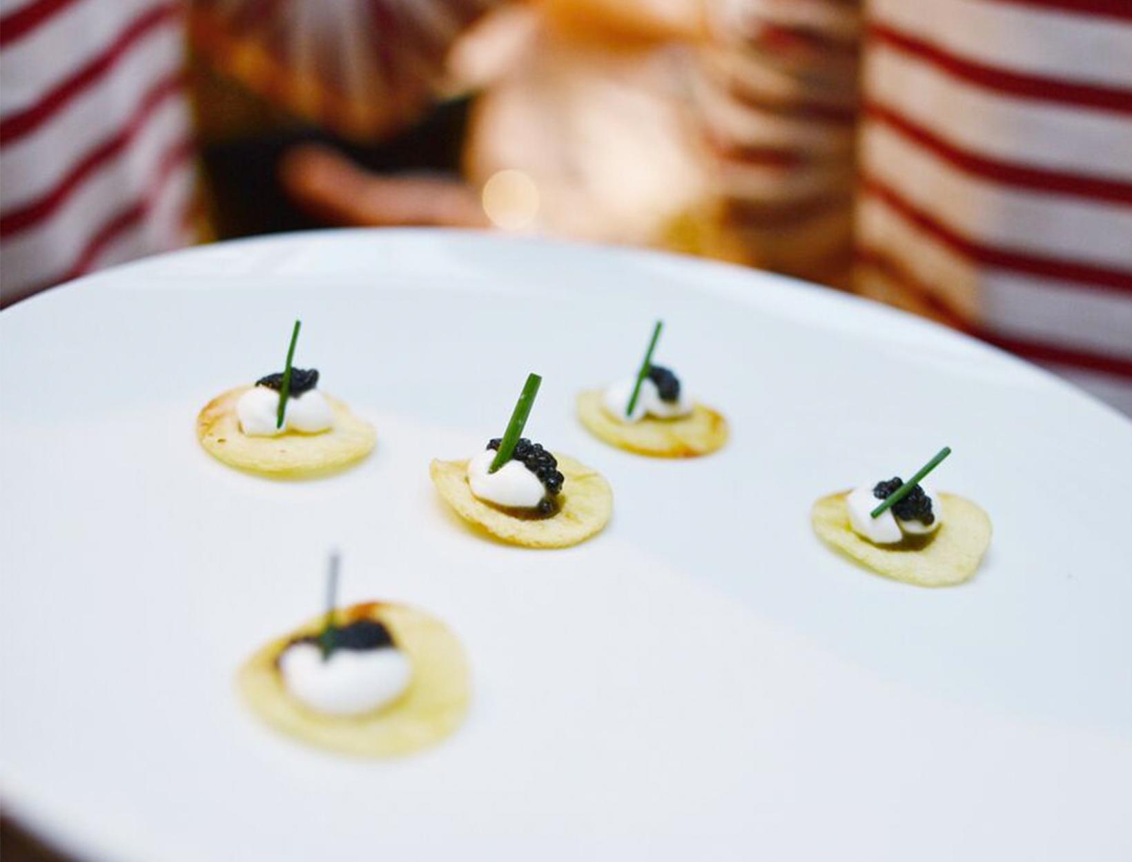 Potato Chips with Caviar and Crème Fraîche
