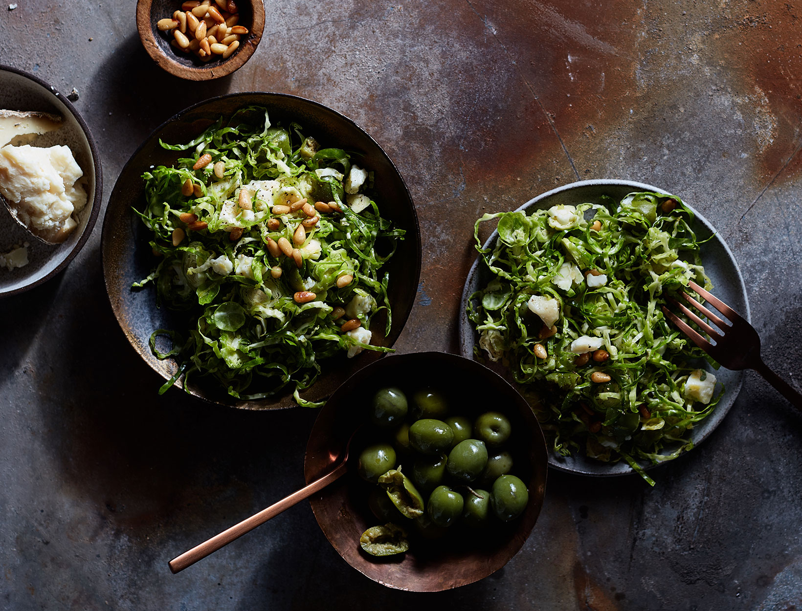 Shaved Brussels Sprouts, Pine Nuts, and Green Olives
