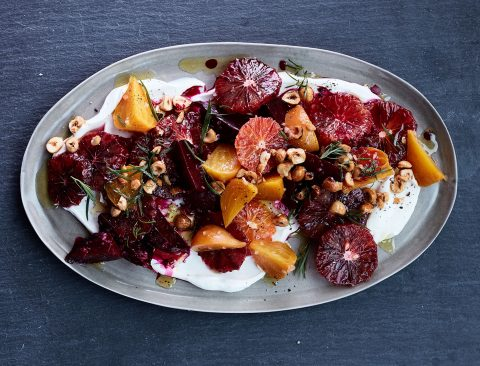 Blood Orange and Roasted Beets with Yogurt, Tarragon, and Hazelnuts