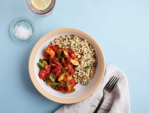 Vegetable Stew with Dill Rice