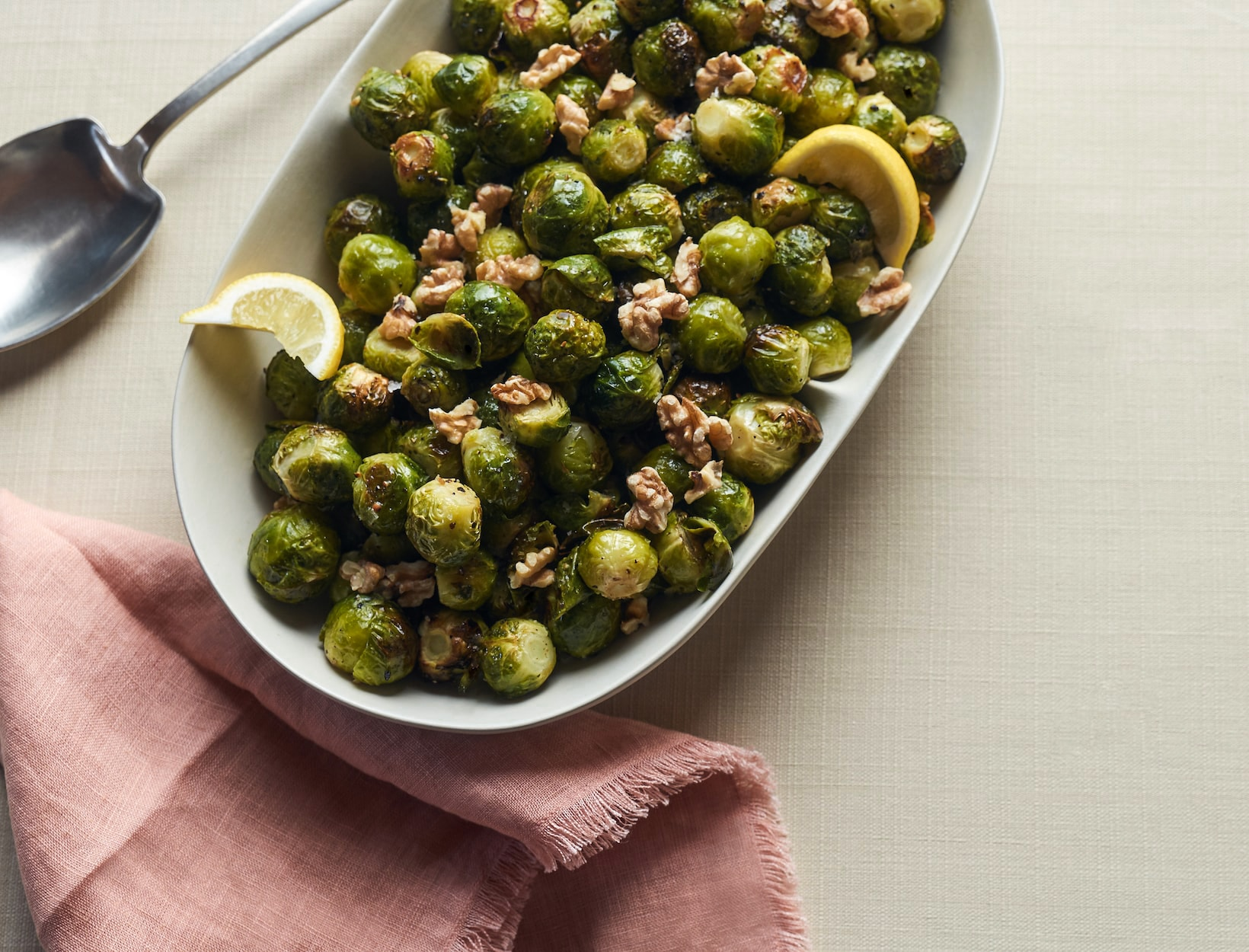 Roasted Brussels Sprouts with Walnuts and Lemon