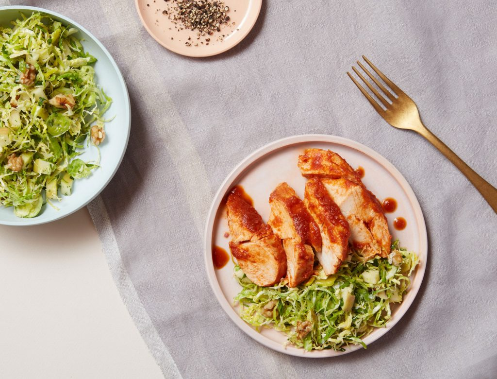Butternut BBQ Chicken and Brussels Sprouts Slaw