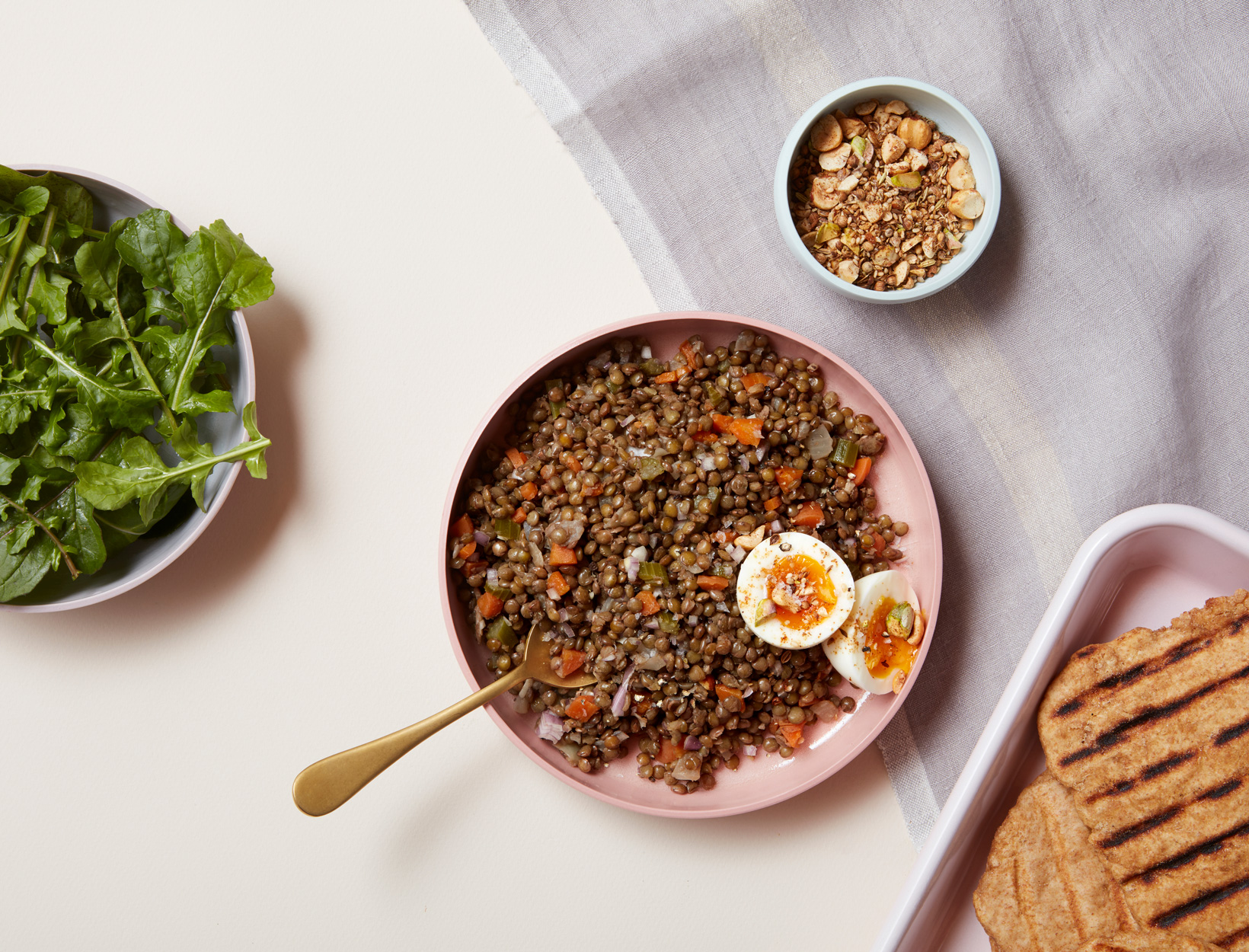 French Lentils and Soft Eggs with Dukkah and Arugula