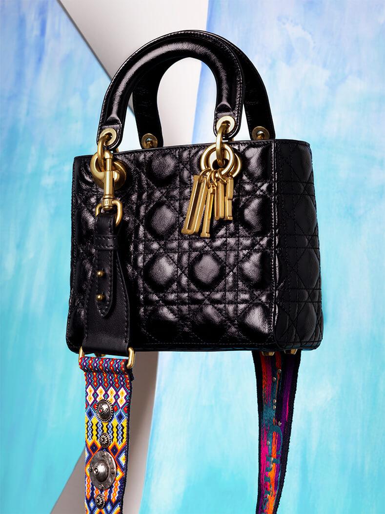 Lady Dior Bag in Black Canage Crinkled Calfskin; DIOR Large Strap in Multicolor Jacquard