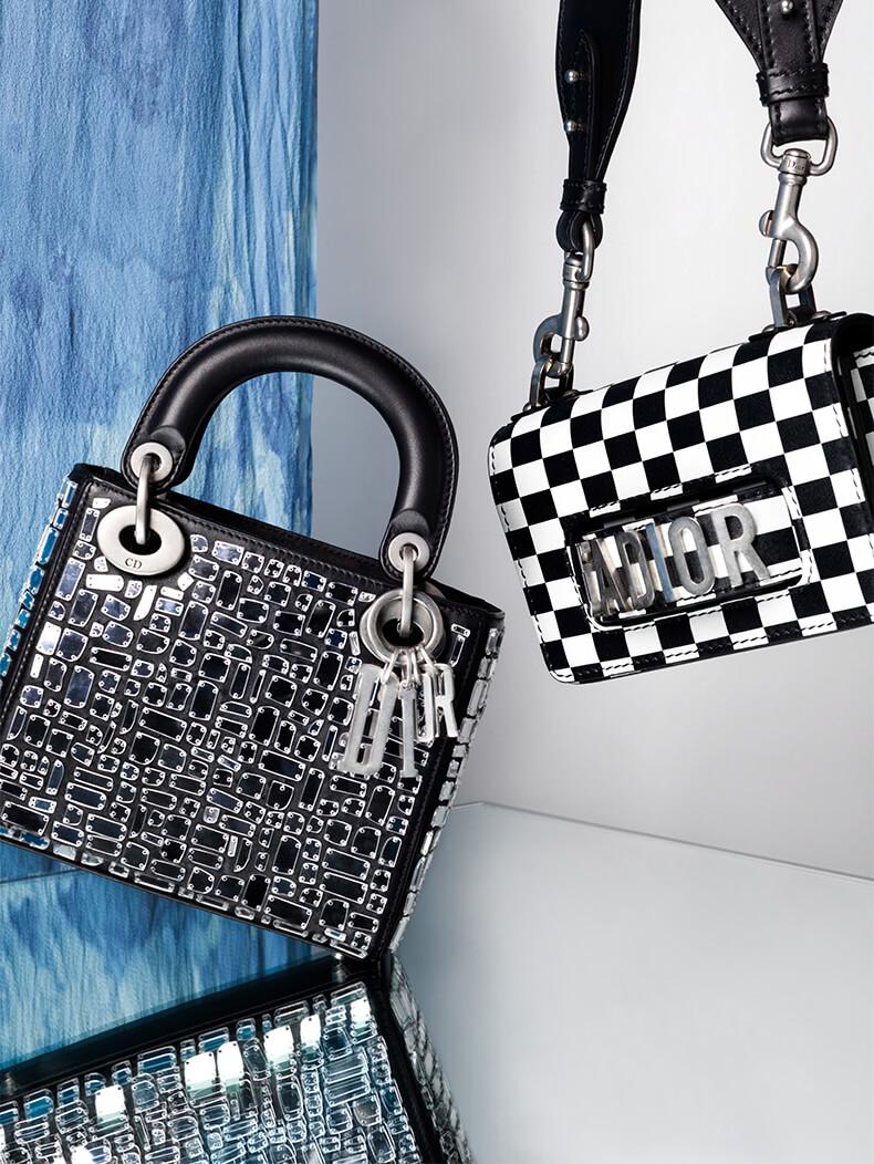 Lady Dior Medium Mirror Mosaic Bag; DIOR Mini Black & White Checks J'Adior Bag