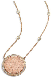 JACQUIE AICHE Pavé & Copper Antique-Coin Necklace