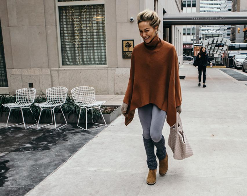 Taryn walking on sidewalk