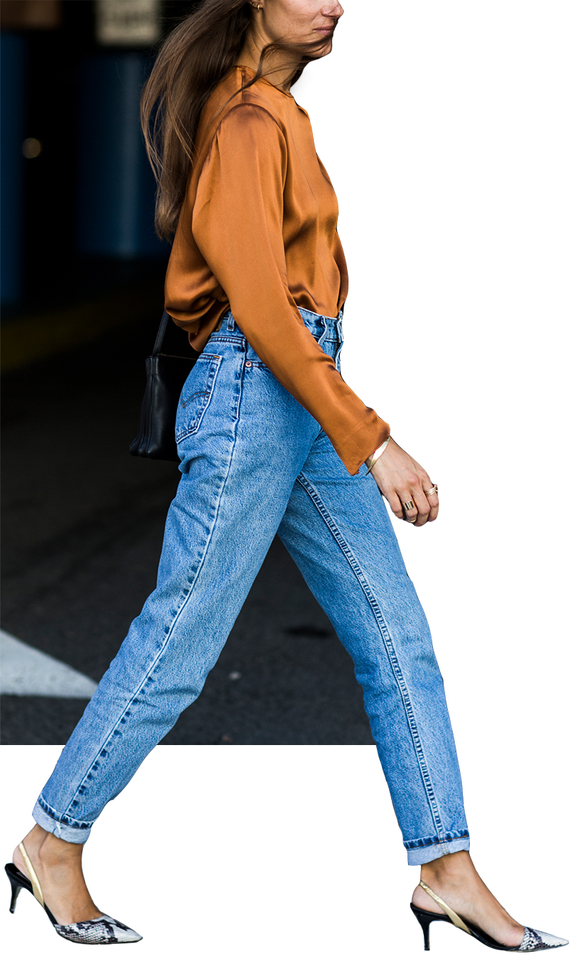 Model wearing RE/DONE The Crawford Straight Jeans.
