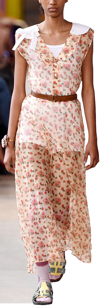 Model wearing floral print dress
